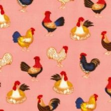 100% Cotton Pink Chicken Print Fabric x 0.5m